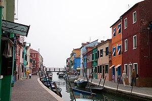 Channel in Burano, Venice, Italy