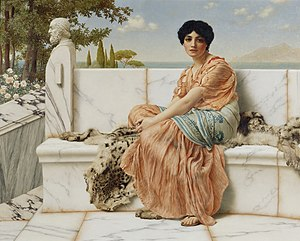Sappho of Lesbos, depicted in a 1904 painting ...