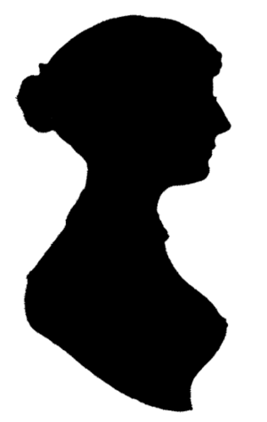 A traditional silhouette image of Jane Austen,...