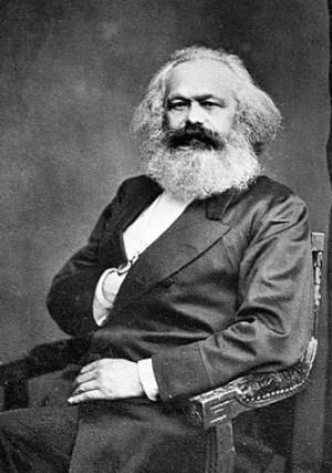 A portrait of Karl Marx.