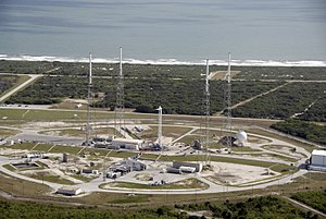 English: An aerial view of Space Launch Comple...