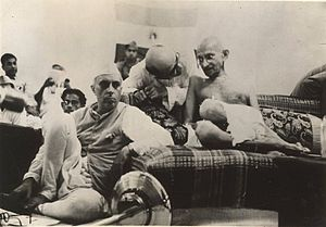 Nehru with Gandhi at the All India Congress Co...