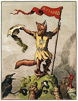 The trickster figure Reynard the Fox as depicted in an 1869 children's book by Michel Rodange.