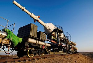 Russian spacecraft transported to the launch p...