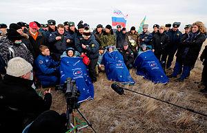 Soyuz TMA-19 crewmembers after landing.