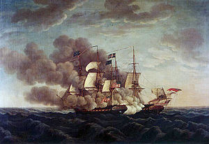 Painting of combat between USS Constitution an...
