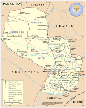 An enlargeable map of the Republic of Paraguay