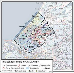 Mapa de riesgos de la costa de Holanda