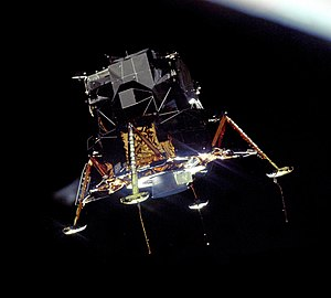 The Apollo 11 Lunar Module Eagle, in a landing...
