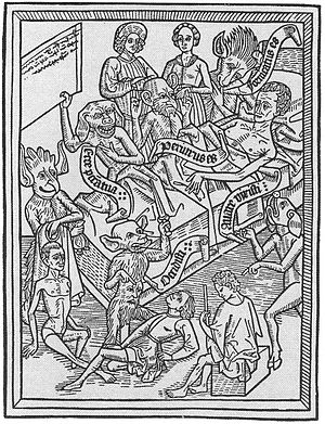 English: Demons showing a dying man his sins o...