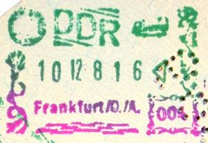 Old East German passport stamp from Frankfurt ...