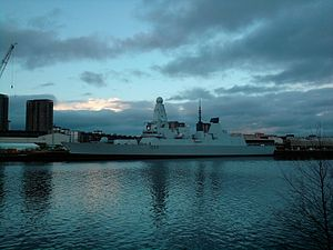 HMS Diamond in the Clyde. Radar and gun fitted.