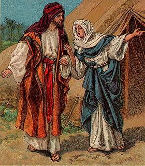 English: Jacob and Rebekah, as in Genesis 27:1...