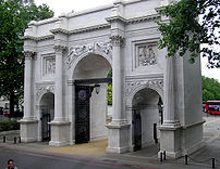 Marble Arch as it is now, standing near Speakers' Corner in Hyde Park, at the western end of Oxford Street in London.