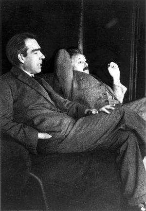 Niels Bohr and Albert Einstein. The picture wa...