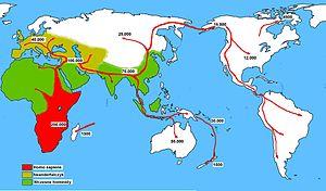 Homo sapiens distribution way Deutsch: Ausbrei...
