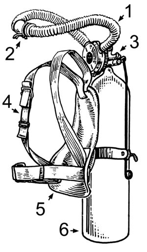 English: Line art drawing of an aqualung Hose ...