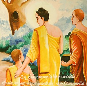 Buddha gives a teaching to his son and novice-...