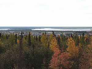 Overlooking Inuvik with the fall colors in the...