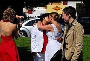 Lesbian wedding near English Bay.