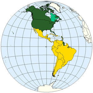 Division of the Americas into Anglo-America an...