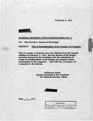 National Security Action Memorandum No. 6 Plan...