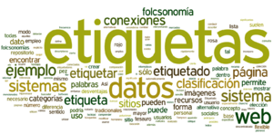 English: Tag cloud of the spanish wikipedia ar...