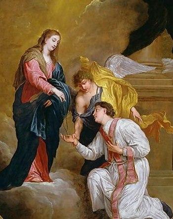 English: Saint Valentine kneeling