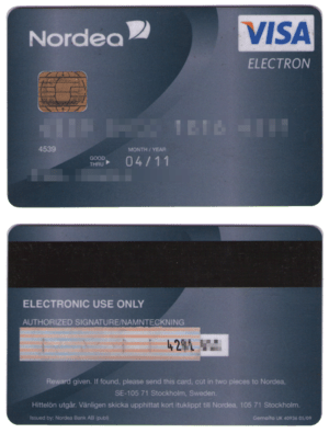 English: Visa Electron debit card Svenska: Vis...