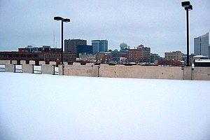 Wichita, Kansas Skyline during the winter snow