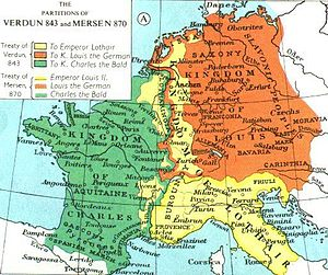 English: The Division of the Carolingian Empir...
