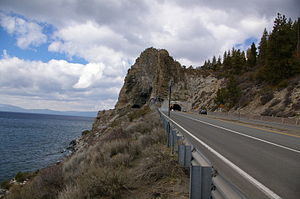 The Cave Rock tunnel along U.S. Route 50 in Ne...