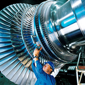 English: Steam turbine rotor produced by Sieme...