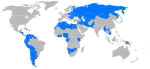 Map of developping countries, without least ad...