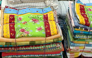 Rugs on sale in Erode, India.