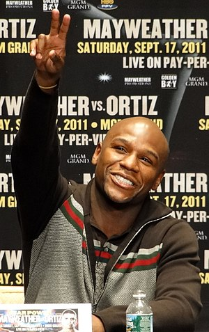 English: Floyd Mayweather during a press confe...