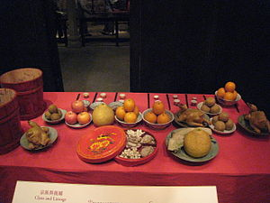 English: Offerings to the ancestors.