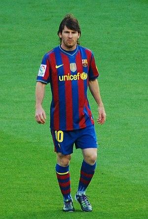Español: Lionel Messi, en un partido de la Lig...