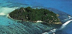 Aerial view of Moyenne Island, Seychelles
