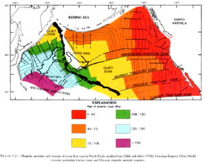 English: Age of ocean floor, with fracture zon...