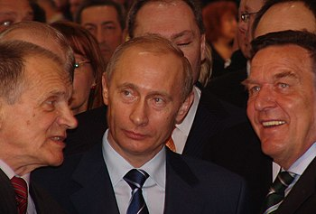 English: Vladimir Putin and Gerhard Schroeder