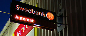 Sign for a automated teller machine for Swedba...