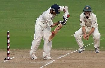 Sachin Tendulkar glides the ball down to third...