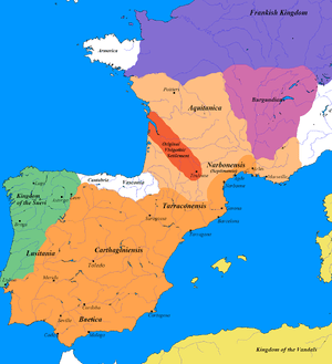 English: Map of the Visigothic kingdom. I crea...
