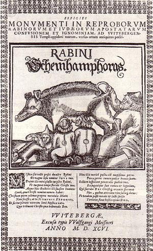 The Judensau from Wittenberg, 1596