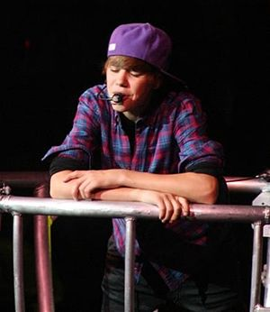 Justin Bieber performing at the Conseco Fieldh...