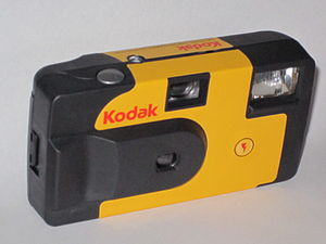 Front view of a Kodak disposable camera. Photo...