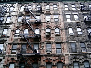 English: Tenement buildings in the Lower East ...