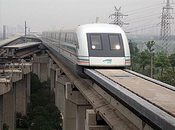German designed Transrapid maglev train in Shanghai, PRC. At a normal-operation top speed of 431 km/hr (267mph), the Shanghai maglev is the world's fastest commercial train.
