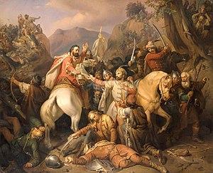 Molnár József Carol Robert fleeing from Posada Battle.jpg
